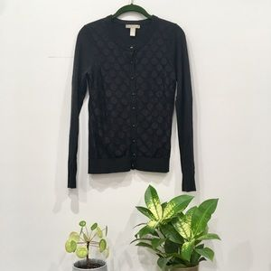 Banana Republic Black Polka Dot Cardigan - XS